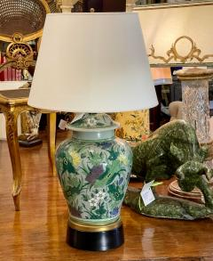 Antique Chinese Famille Verde Chinoiserie Porcelain Lamp With Custom Shade - 1999905