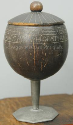 Antique Coconut Pewter Goblet Carved by Captain Edmund Williams - 1392514