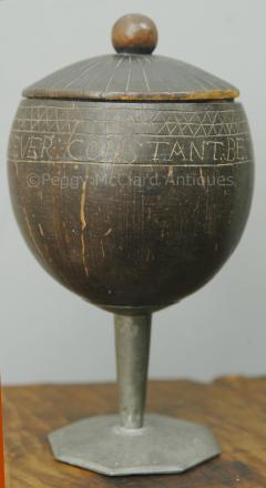 Antique Coconut Pewter Goblet Carved by Captain Edmund Williams - 1392516