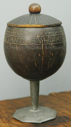 Antique Coconut Pewter Goblet Carved by Captain Edmund Williams - 1392517