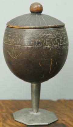 Antique Coconut Pewter Goblet Carved by Captain Edmund Williams - 1392518