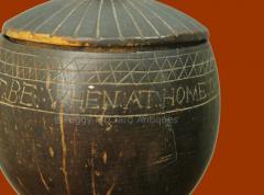 Antique Coconut Pewter Goblet Carved by Captain Edmund Williams - 1392519