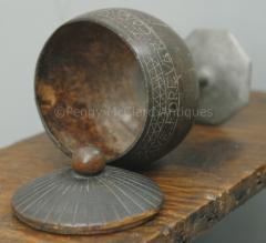 Antique Coconut Pewter Goblet Carved by Captain Edmund Williams - 1392523