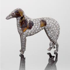 Antique Diamond 15k Gold Silver Diamond Borzoi Dog Brooch with Carved Amber - 134439