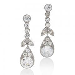 Antique Diamond Drop Earrings - 917481