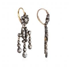 Antique Diamond Girandole Style Earrings in Sterling Silver and Gold - 1492236