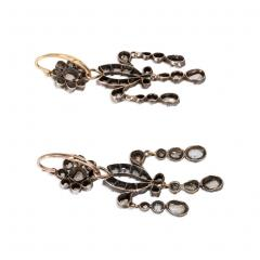 Antique Diamond Girandole Style Earrings in Sterling Silver and Gold - 1492237