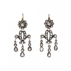 Antique Diamond Girandole Style Earrings in Sterling Silver and Gold - 1492770