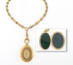 Antique Diamond Pearl and Gold Locket Necklace - 125827