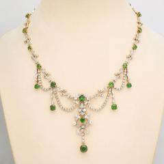 Antique Diamond and Demantoid Garnet Necklace - 669266