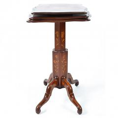 Antique Dutch Mahogany Marquetry Collapsible Dumb Waiter Table - 169642