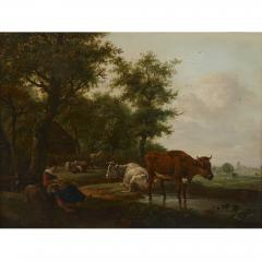 Antique Dutch painting of countryside with figures and animals - 1954695