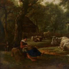 Antique Dutch painting of countryside with figures and animals - 1954696