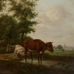 Antique Dutch painting of countryside with figures and animals - 1954697