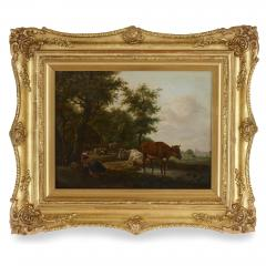 Antique Dutch painting of countryside with figures and animals - 1954698