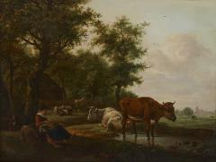 Antique Dutch painting of countryside with figures and animals - 1955282