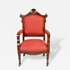 Antique Eastlake Walnut Armchair Victorian Period - 161564