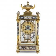 Antique Eclectic Style Gilt Bronze Brass and Champlev Enamel Mantel Clock - 1942690