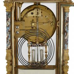Antique Eclectic Style Gilt Bronze Brass and Champlev Enamel Mantel Clock - 1942693
