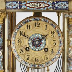 Antique Eclectic Style Gilt Bronze Brass and Champlev Enamel Mantel Clock - 1942694