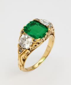 Antique Emerald Diamond Ring - 1367903