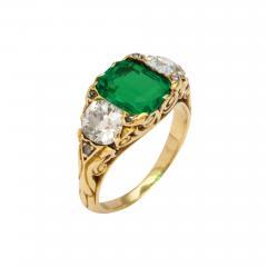 Antique Emerald Diamond Ring - 1369426