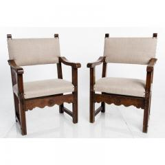 Antique English Country Armchairs with Floral Carvings - 1550081