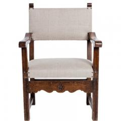 Antique English Country Armchairs with Floral Carvings - 1550085