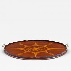 Antique English Inlaid Oval Tray Circa 1900 - 261593