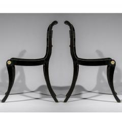 Antique English Regency Pair of Black Painted Klismos Chairs - 1083770