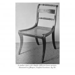 Antique English Regency Pair of Black Painted Klismos Chairs - 1083783