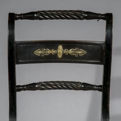 Antique English Regency Pair of Black Painted Klismos Chairs - 1083785