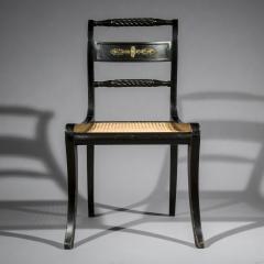 Antique English Regency Pair of Black Painted Klismos Chairs - 1083786