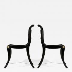 Antique English Regency Pair of Black Painted Klismos Chairs - 1084135