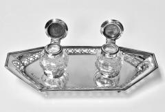 Antique English Silver and Enamel Inkstand hallmarked 1910 11 by Manoah Rhodes - 1167865