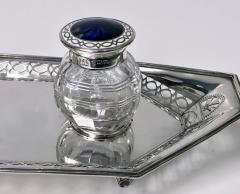 Antique English Silver and Enamel Inkstand hallmarked 1910 11 by Manoah Rhodes - 1167867