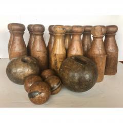 Antique English Skittles Lawn Bowling Game Set - 1370529