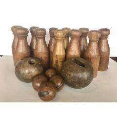Antique English Skittles Lawn Bowling Game Set - 1370530