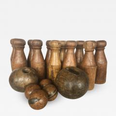 Antique English Skittles Lawn Bowling Game Set - 1373723