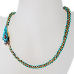 Antique English Turquoise Diamond Ruby and Gold Serpent Necklace - 331189