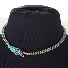 Antique English Turquoise Diamond Ruby and Gold Serpent Necklace - 331191