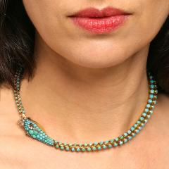 Antique English Turquoise Diamond Ruby and Gold Serpent Necklace - 331192