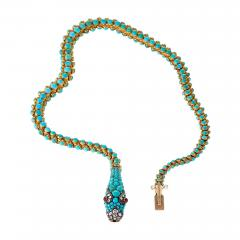 Antique English Turquoise Diamond Ruby and Gold Serpent Necklace - 331627