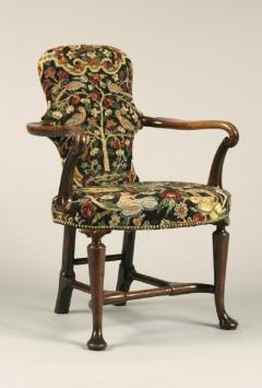 Antique English Walnut Shepherds Crook Armchair with Contemporary Needlework - 1247731