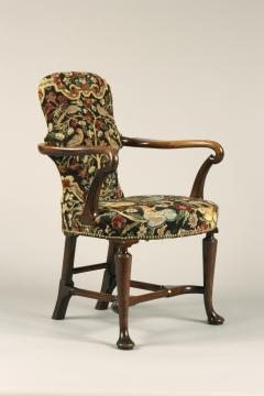 Antique English Walnut Shepherds Crook Armchair with Contemporary Needlework - 1247736