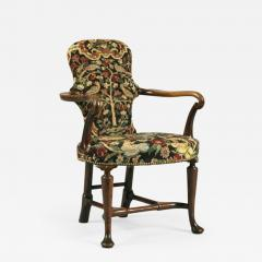Antique English Walnut Shepherds Crook Armchair with Contemporary Needlework - 1248434
