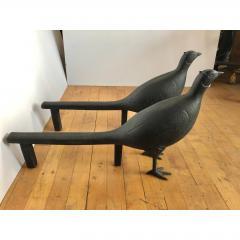 Antique Folk Art Pheasant Cast Iron Andirons - 1370394