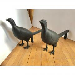 Antique Folk Art Pheasant Cast Iron Andirons - 1370396