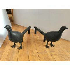 Antique Folk Art Pheasant Cast Iron Andirons - 1370398