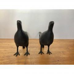 Antique Folk Art Pheasant Cast Iron Andirons - 1370400